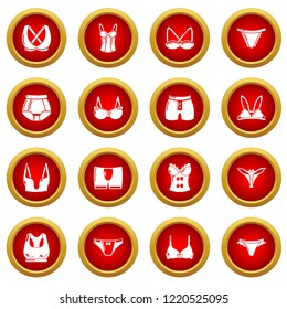 Underwear types icons set. Simple illustration of 16 underwear types icons for web