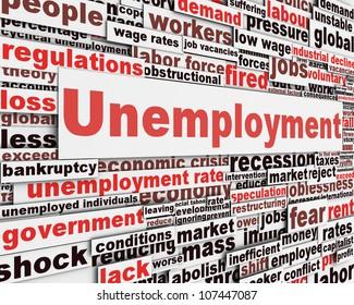 Unemployment message concept. Jobs crisis concept