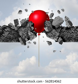 unexpected power and success as a red balloon breaking through a cement wall as a business achievement metaphor with 3D illustration elements.