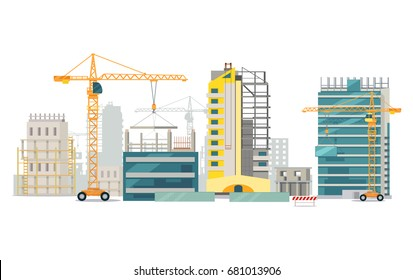 Unfinished buildings set. Industrial cranes. Process of building. Different types of houses. Big cranes holding elements. Modern city architecture. Illustration of construction. Cartoon style.