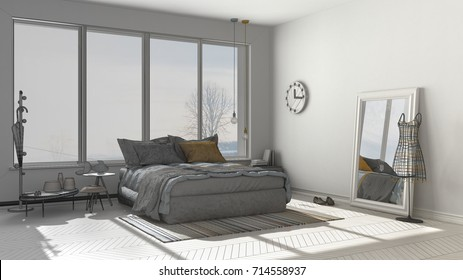 Master Bedroom Dressing Room 3 D Panels Stock Illustration 310144502