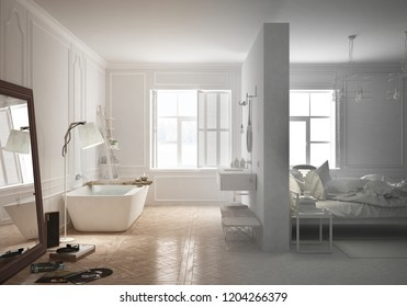 Unfinished project draft of luxury bedroom with bathroom in scandinavian style, minimal architecture interior design, 3d illustration