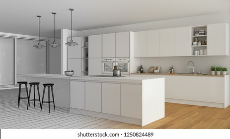 Unfinished project draft of modern minimalist white and wooden kitchen with island and big panoramic window, parquet, pendant lamps, contemporary architecture interior design, 3d illustration