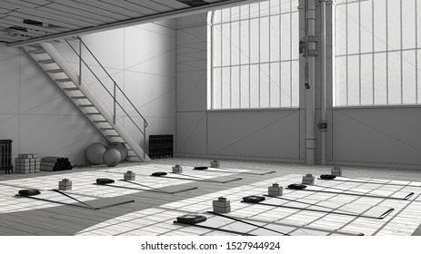 Unfinished project of empty yoga studio interior design, minimal industrial open space with staircase, mats and accessories, parquet floor and mezzanine, ready for yoga practice, 3d illustration