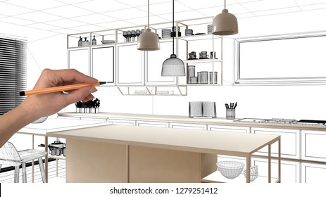 Unfinished project, under construction draft, concept interior design sketch, hand drawing real kitchen sketch with blueprint background, architect and designer idea, 3d illustration
