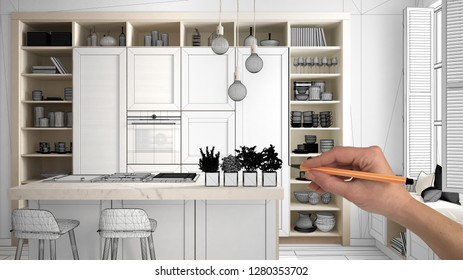 Unfinished project, under construction draft, concept interior design sketch, hand drawing real kitchen sketch with blueprint background, architect and designer idea,3d illustration