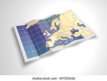 Unfolded Europe map sheet. 3D Rendering.