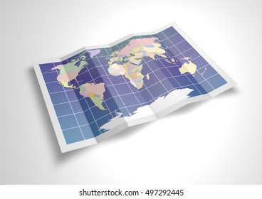 Unfolded political world map sheet. 3D Rendering.