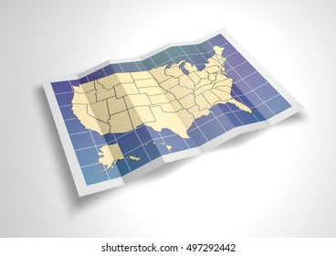 Unfolded USA map sheet. 3D Rendering.