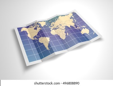 Unfolded world map sheet. 3D Rendering.