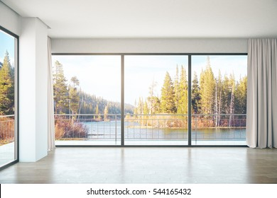 Unfurnished concrete interior with panoramic windows and landscape view. 3D Rendering