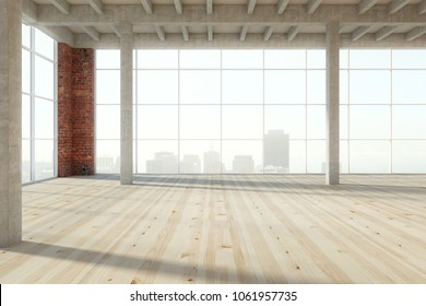 Unfurnished empty wooden warehouse interior with panoramic city view and daylight. 3D Rendering
