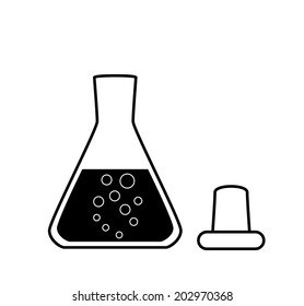 Ungraduated Erlenmeyer flask with a solution, laboratory equipment, 2D illustration, isolated on white, black and white