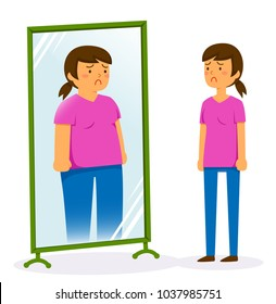 Unhappy woman looking in the mirror and seeing a fat image of herself
