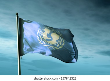 UNICEF flag waving in the evening