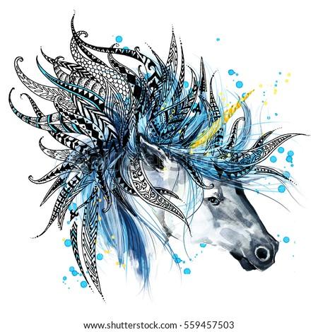 Unicorn Animal Head Print Anti Stress Stock Illustration 559457503 ...