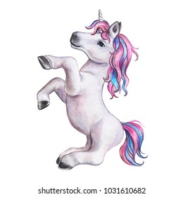 A unicorn baby with a pink mane isolated on a white background. Illustration. Watercolor. Template