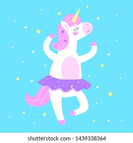 unicorn ballerina on blue background
