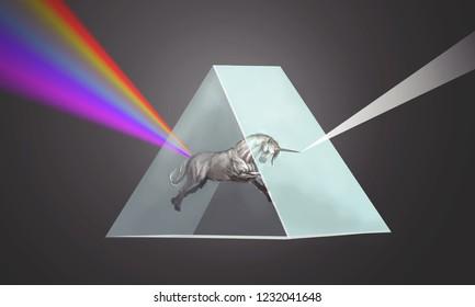 unicorn bending the light in prism