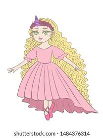 Unicorn blonde princess ballerina dancing