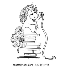 Unicorn with books and scale
