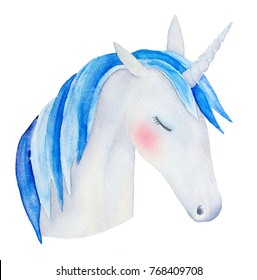 Unicorn with closed eyes portrait. Symbol of dreams, tales, fantasies, luck, prosperity, purity, transformation, good change. Hand drawn watercolour drawing, isolated on white background. Pink cheek.