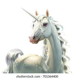 Unicorn, close-up, isolated on white