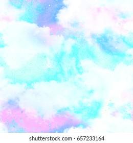Unicorn Cloud Galaxy Fantasy Print  Seamless Pattern in Repeat