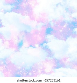 Unicorn Cloud Sky Galaxy Print  Seamless Pattern in Repeat
