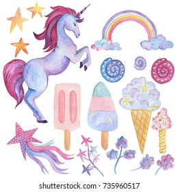 Unicorn collection. Watercolor objects. Party decoration set