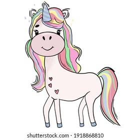 A unicorn. A colorful, cheerful unicorn. A beautiful, bright hand-drawn unicorn.