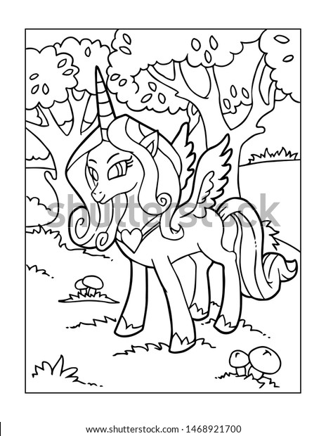Unicorn Coloring Pages Kids Stock Illustration 1468921700