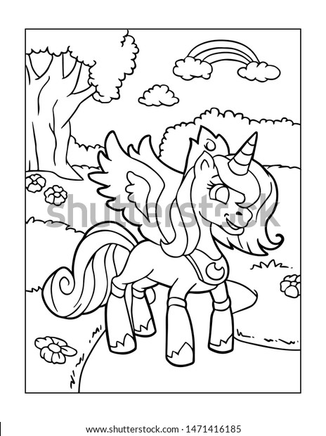 - Unicorn Coloring Pages Kids Stock Illustration 1471416185