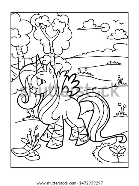 - Unicorn Coloring Pages Kids Stock Illustration 1472939297