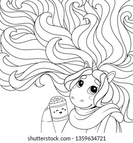 Unicorn with a cup of hot chocolate