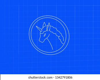unicorn doodle concept blueprint art - image