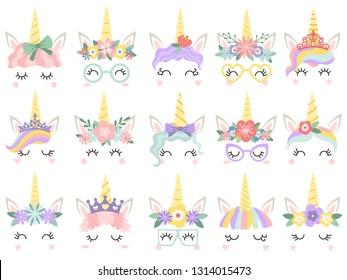 Unicorn face. Beautiful pony unicorns faces, magic horn in rainbow flower wreath and pony cute eyelashes head, fairytale rainbow magical cartoon  isolated icons illustration set