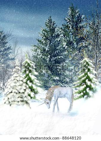 9e1e99788b03 Unicorn Fantasy Winter Landscape Trees Stock Illustration 88648120 ...