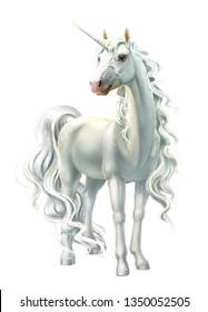 unicorn, full-length isolated on white
