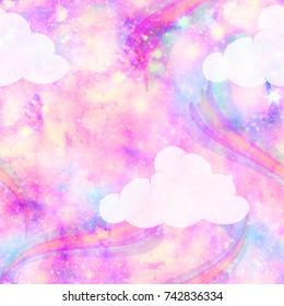 Unicorn Galaxy Cloud and Rainbow Fantasy Print  Seamless Pattern in Repeat
