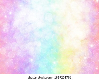 Unicorn galaxy pattern. Pastel cloud and sky with glitter. Cute bright paint like candy background theme. Concept to montage or present your product, for women, girls in princess style