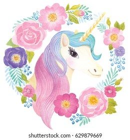 Unicorn head in wreath of flowers. Watercolor illustration.