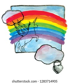 Unicorn on a rainbow and lcouds with a heart locket