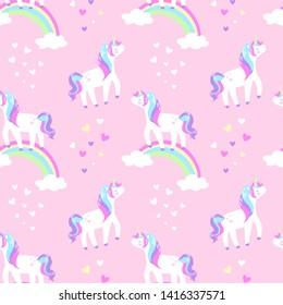 unicorn on a rainbow seamless pattern