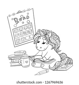 Unicorn is reading a book, with tea. Coloring page. Reader´s diary