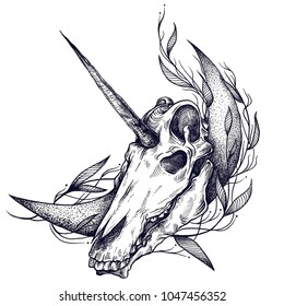 Unicorn are real skull unicorn on a white background. Great for printing on T-shirts, for tattoos and much more. Perfect for decorating Halloween and the day of the dead.