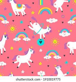 Unicorn seamless pattern. Cute fairytale animals, pony unicorns with rainbow, cloud, stars. Fairy tale unicorns  background illustration. Seamless pattern background, magical and majestic pony