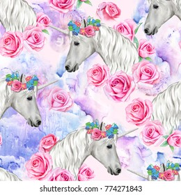 Unicorn seamless pattern with pink roses. White horses have a flower wreath. Illustration. Watercolor. Colorful handmade