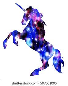 Unicorn silhouette like galaxy icon logo with rainbow and shine. Simple style symbol.