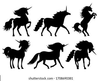 Unicorn silhouettes. Unicorns silhouette set isolated on white, mysterious horse animal, cute horsy myth spirit black scrapbook decoration illustration